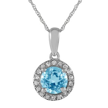 Petite Blue Topaz and Diamond Halo Pendant