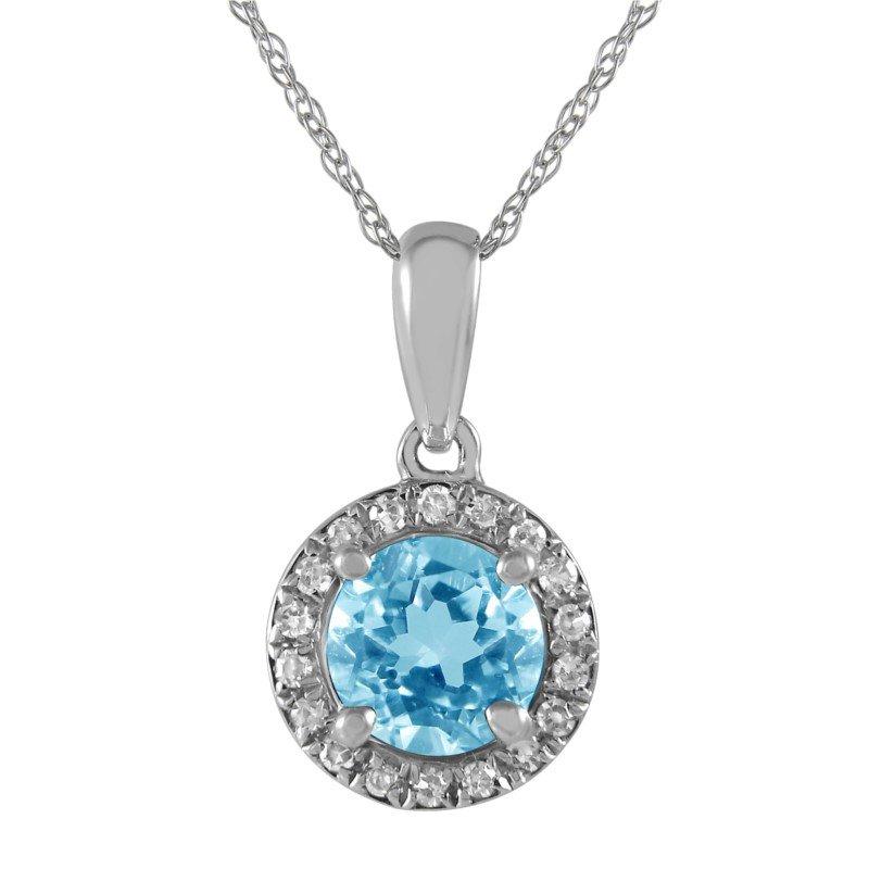 Petite Blue Topaz and Diamond Halo Pendant