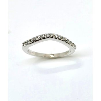 14kt White Gold Diamond Curved Band