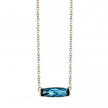 Slick style Blue Topaz in Rose Gold Pendant