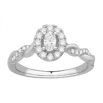 Elegant Oval Diamond Diamond set with a Crown of Round diamonds and a Romantic Twisting Diamond set Ring Shank