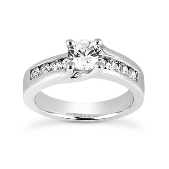 White 14 Karat Ring With 8 Round Diamonds=0.80Tw  G/H Si