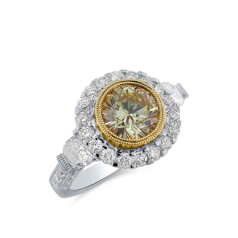 White Gold Natural Yellow Diamond Halo in Custom Design Ring