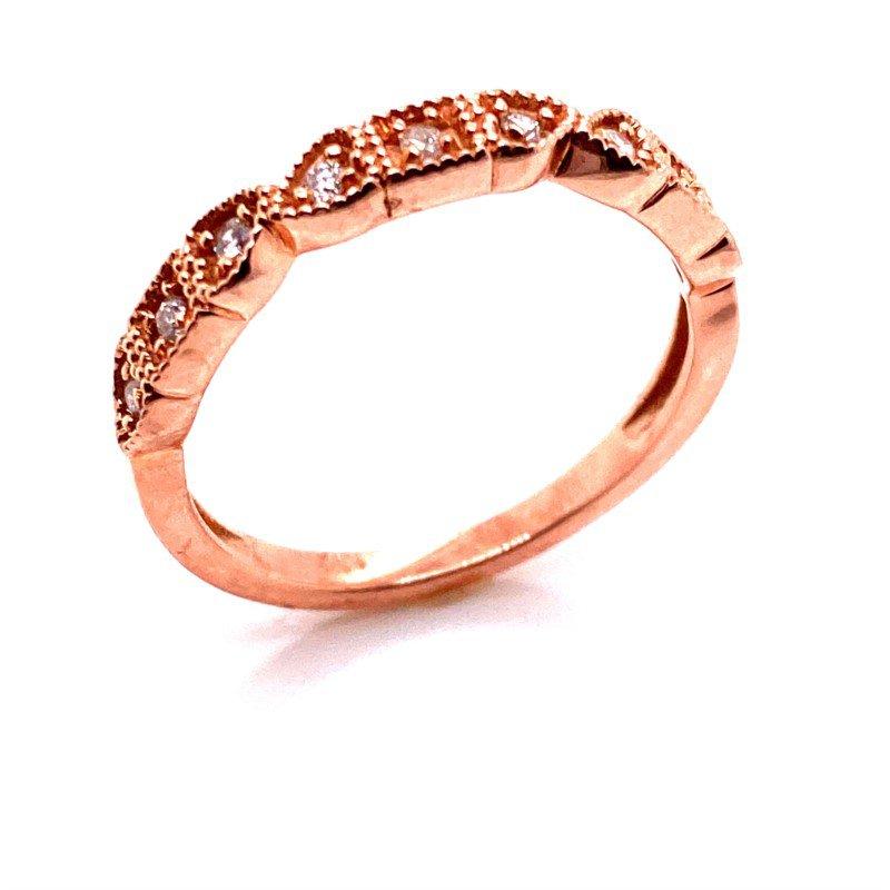 10 Karat Rose Gold Filigree and Diamond Band