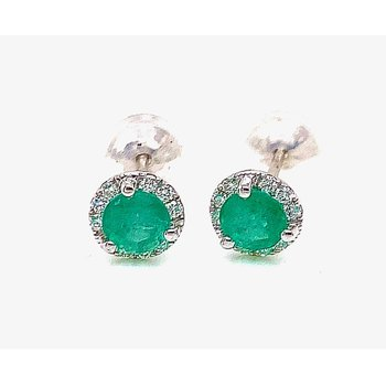 White Gold Emerald and Diamond Halo Stud Earrings