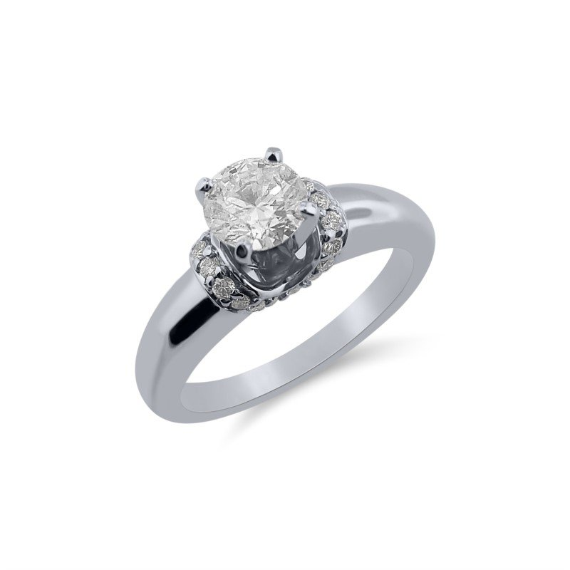 White 14 Karat Ring With One 0.51Ct Round H I1 Diamond And 20=0.11Tw Round G/H Si1 Diamonds