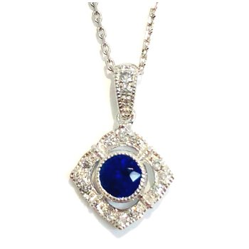 Classic 14 kt Gold Pendant with Sapphire and Diamonds