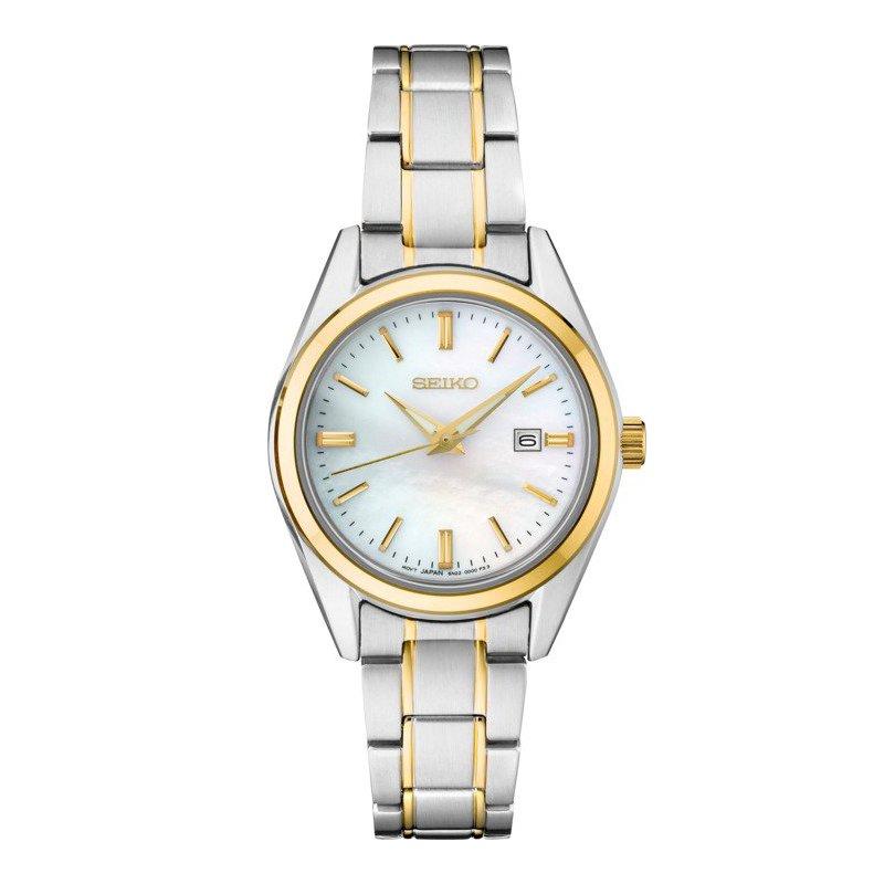 Ladies Yellow and White Stainless Steel Seiko Quartz Watch