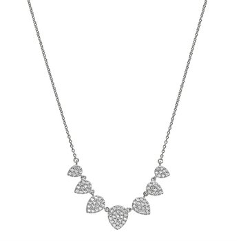 Sterling Silver7 Leaves Pendant With Simulated Diamonds On Adjustable Length Chain