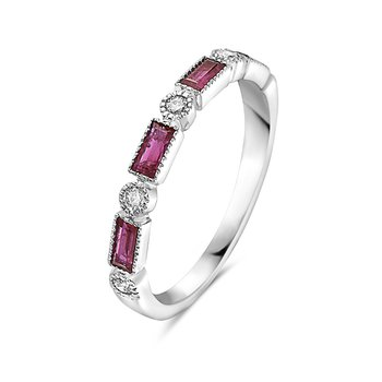 Ruby Baguette and Diamond Band in 14 kt White Gold