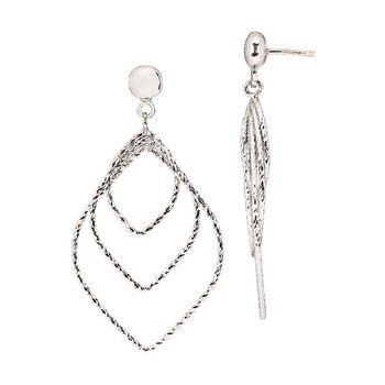 Sterling Silver Diamond Cut Graduated Diamond Drops Earrings
