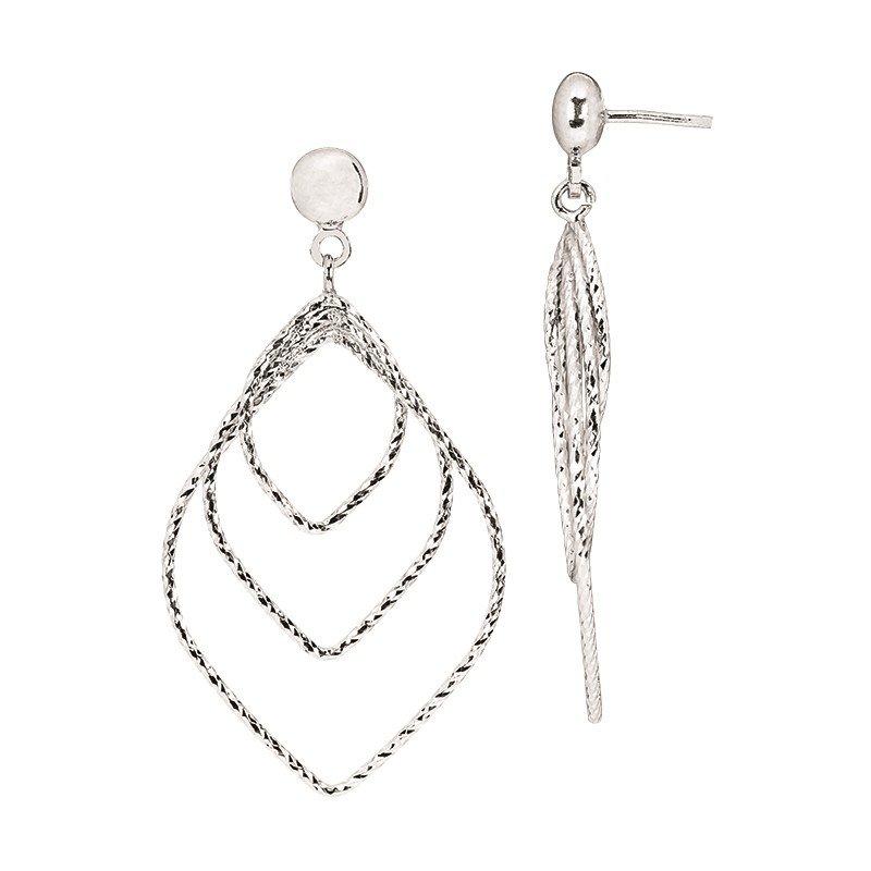 Sterling Silver Diamond Cut Graduated Diamond Drops Earrings