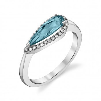 14 Karat White Gold London Blue Topaz and Diamond Ring