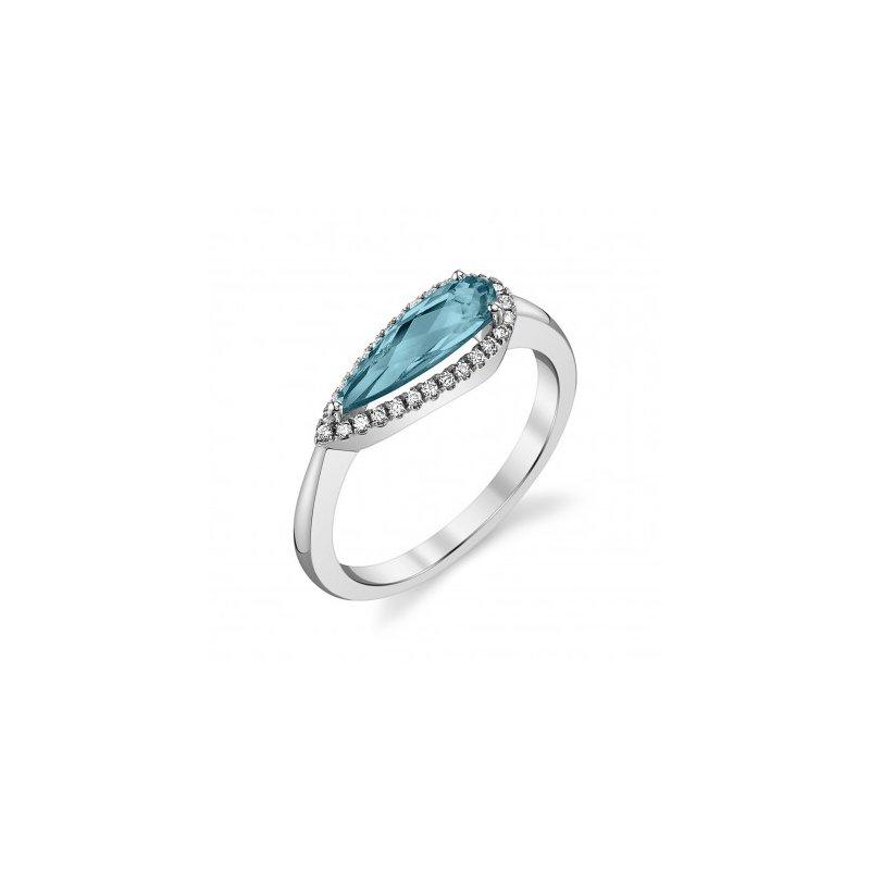 14 Karat White Gold London Blue Topaz and Diamond Ring