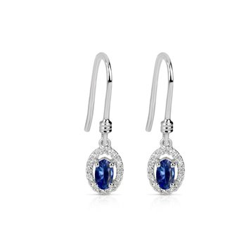 14 Karat White Gold Drop Earrings With Sapphires and Diamonds