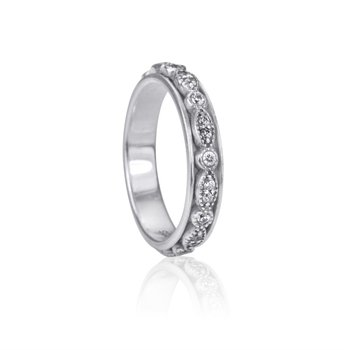 "Sterling Silver ""Devotion"" and White Cubic Zirconia Ring"