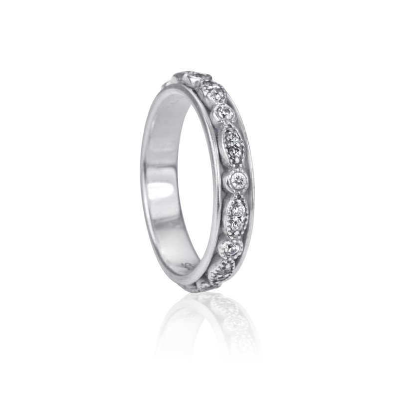 """Sterling Silver """"Devotion"""" and White Cubic Zirconia Ring"""