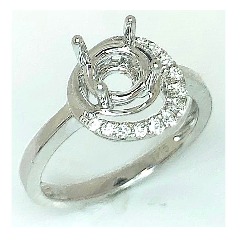 14kt White Gold ring mounting with Offset Halo