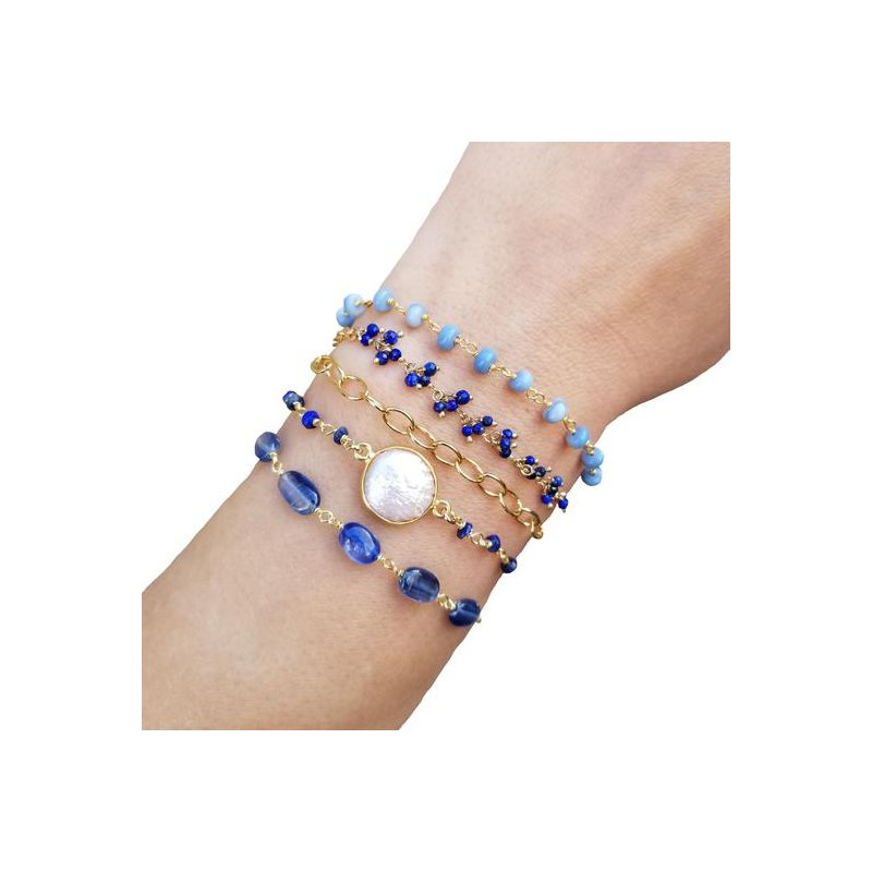Sterling Silver Long Chain or Wrap Around Bracelet with Gemstones