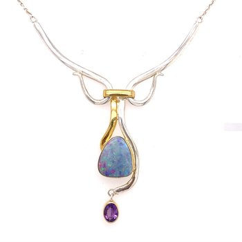 Opal and African Amethyst Free Form Necklace Is A Showstopper and A Must Have