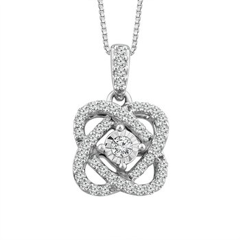 "Sterling Silver Diamond ""Love Knot"" Pendant"