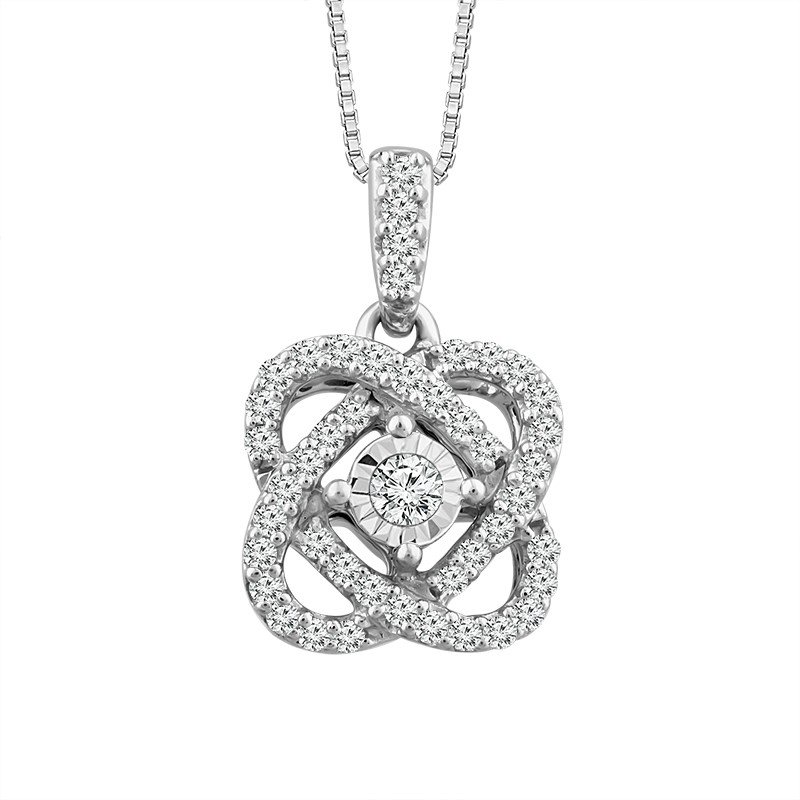 "Sterling Silver Diamond ""Love Knot"" Pendant"