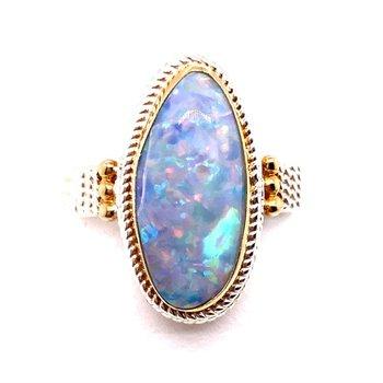 Eye Catching Opal Ring Set in Sterling Silver and 22 Karat Vermeil