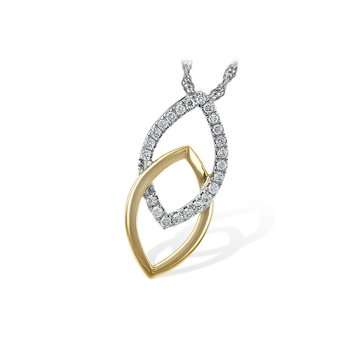 White And Yellow 14 Karat Interlocking Geometric Pendant With Diamonds