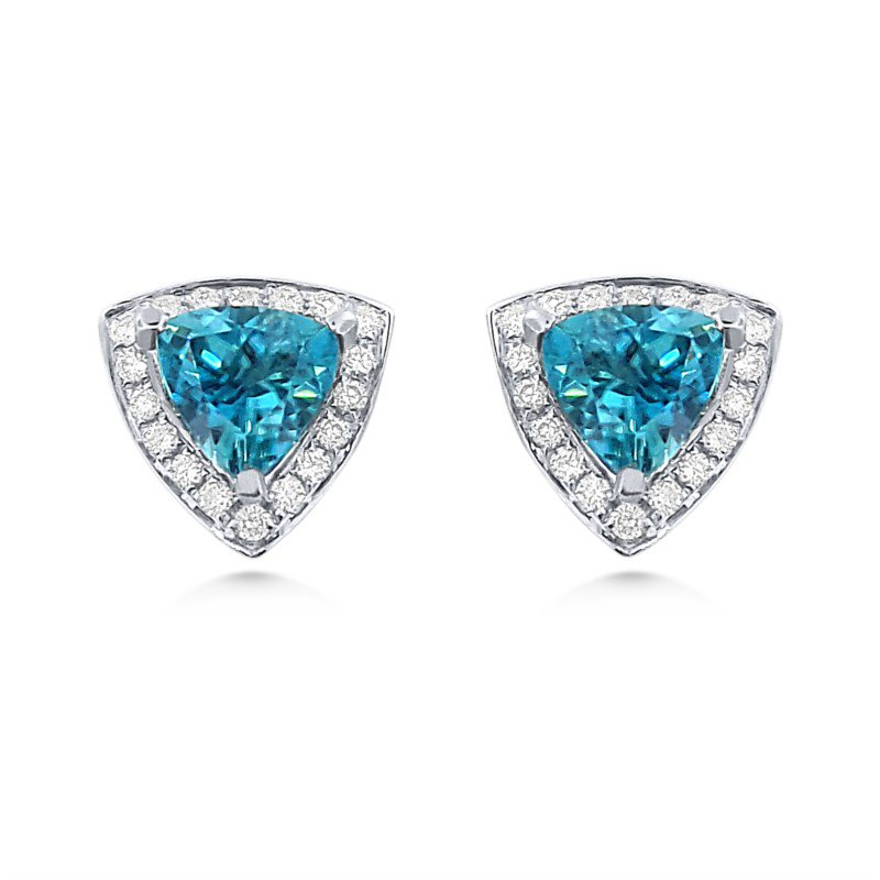 White Gold Earrings with Brilliant Blue Zircons and Diamonds