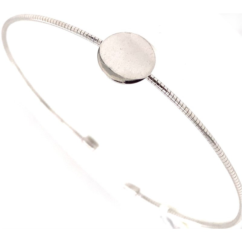Sterling Silver Circle Station Cuff - Engraveable