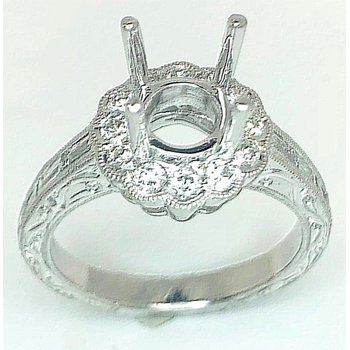 Platinum Ring Engraved with Round and Baguette diamonds