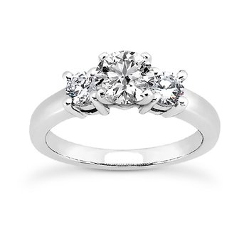 14 Karat White Gold 3 Stone Engagement Ring Mounting