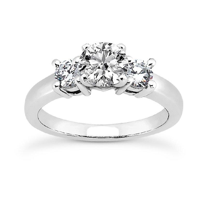 14 Karat White Gold 3 Stone Engagement Ring Mounting