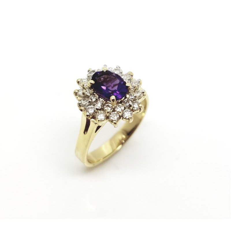 Yellow Gold Diamond and Amethyst Ring