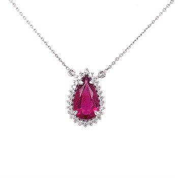 Pear Shaped Tourmaline Pendant With Halo of Diamonds