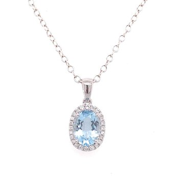 White Gold Halo Pendant With Aquamarine and Diamond