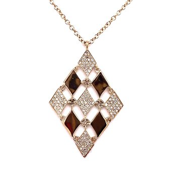 Yellow Gold Polishes and Pave Diamond Pendant