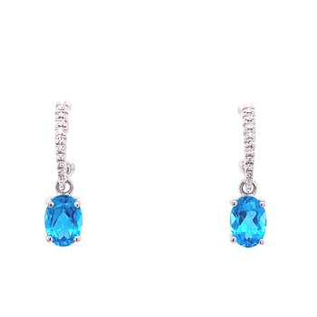 White Gold Diamond and Blue Topaz Drop Earrings