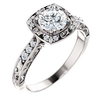 White 14 Karat Ring With 18=0.04Tw Round Diamonds