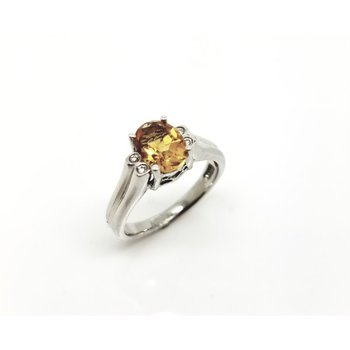 White Gold Diamond and Citrine Ring