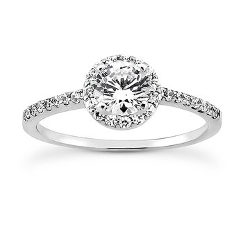 Petite Diamond Halo Engagement Ring Mounting