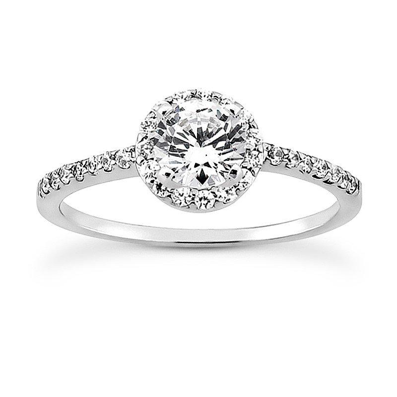Petite Diamond Halo Engagement Ring Mounting