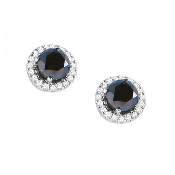 Rare Black Diamond Earrings with White Diamond Halos
