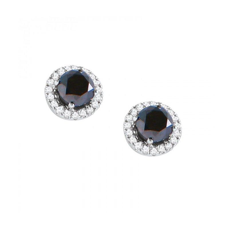 Rare Black Diamond Earrings with White Diamond Halos