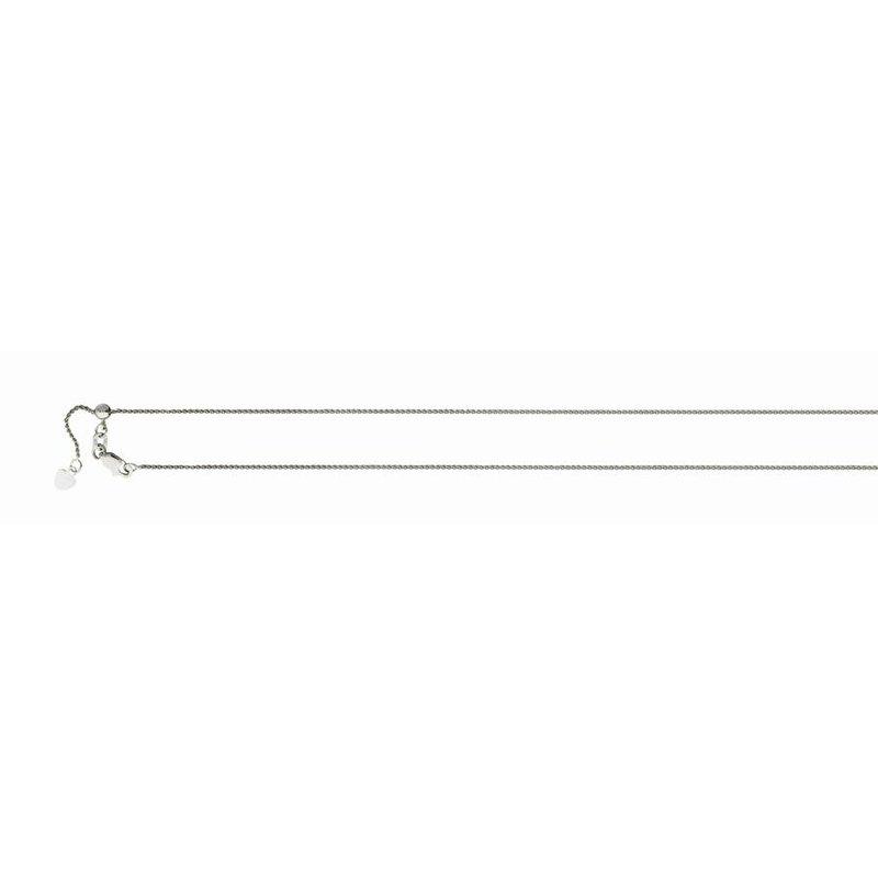 White 14 Karat Adjustable Round Wheat Necklace Length 22