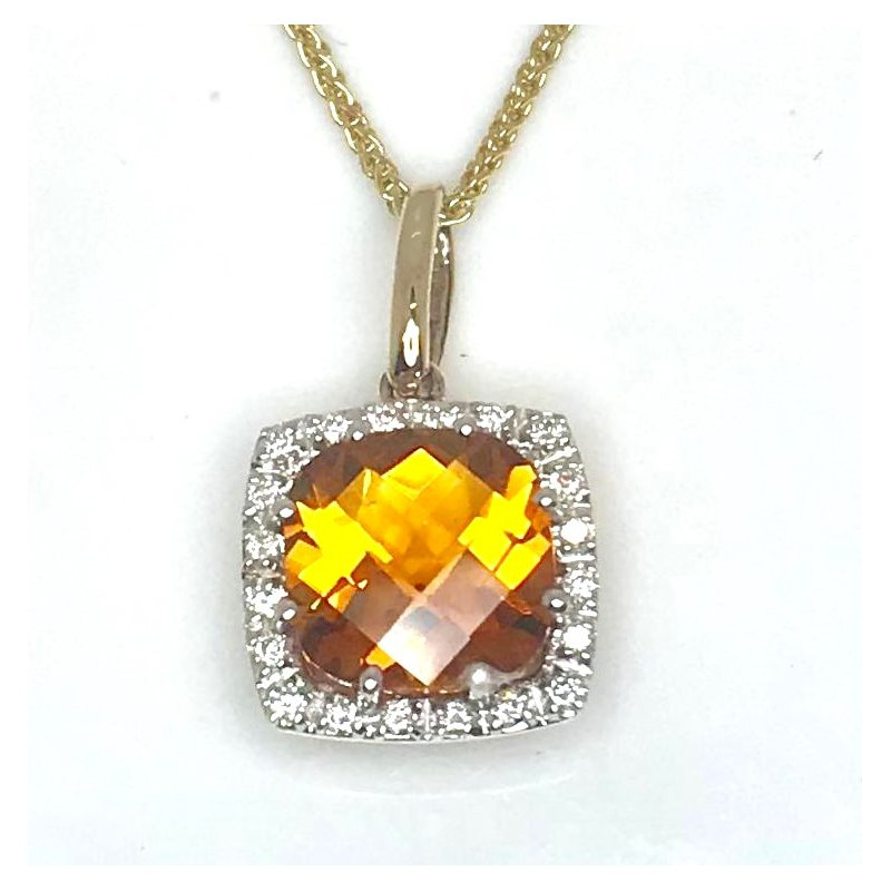 Fancy cut Citrine and Diamond Pendant