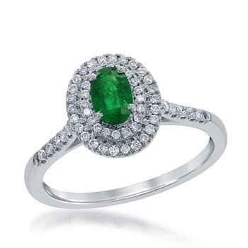 14 Karat White Gold Double Diamond Halo Ring Set With An Oval Emerald