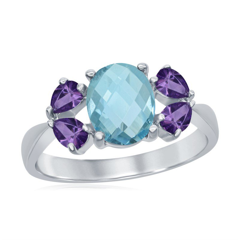 Sterling Silver Ring With Blue Topaz And Iolite