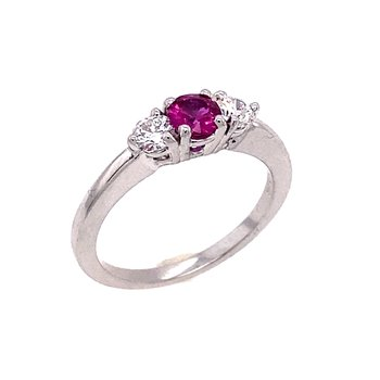 Classic Three Gemstone Ring of Ruby and Diamonds