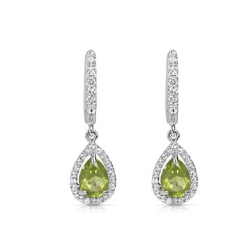 Spiffy Peridot Earrings with White Sapphires